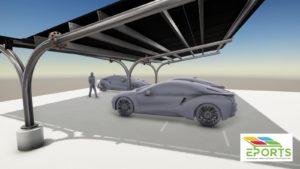 Zonnepanelen carports, solarcarport, zonne-overkapping, carport met geïntegreerde zonnepanelen