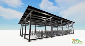 Rijwielstalling voorzien van zonnepanelen, zonnepanelen als dak