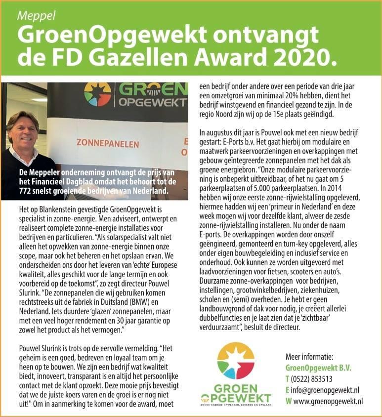 FD Gazellen wint award GroenOpgewekt Meppel - Hengevelde