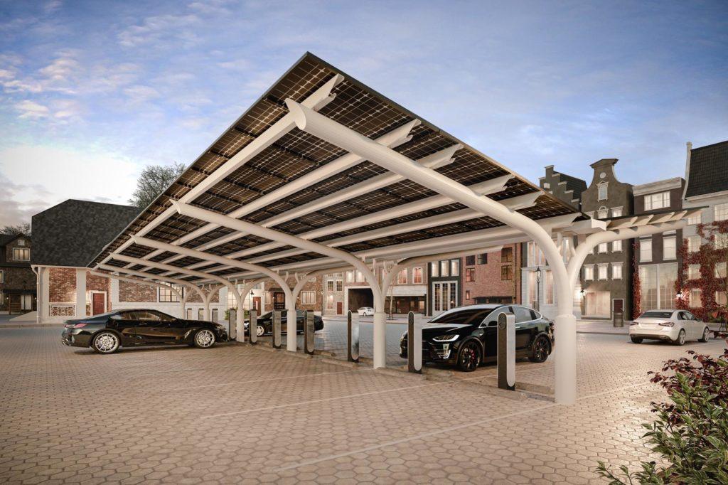 Zonnepanelen carport SolarCarport in Meppel en Zoetermeer